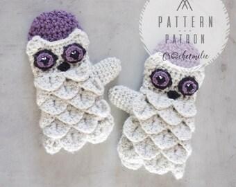 CROCHET PATTERN  #010 ---Toddler's owl mittens