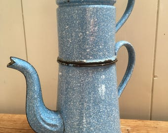 French vintage enamel coffee pot, home decor, french cuisine , country kitchen , enamelware