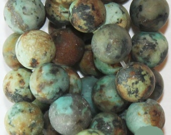 """Natural Matte African Turquoise Beads - Round 8 mm Gemstone Beads - Full Strand 15"""", 46 beads, A Quality"""