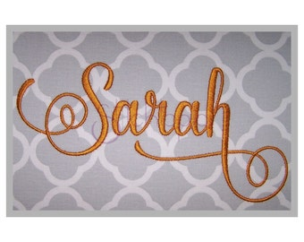"Sarah 2 Embroidery Font Set - 1"" 1.5"" 2"" 2.5"" 3"" - Script Machine Embroidery Font Alphabet BX PES JEF 11 Formats - Instant Download Files"