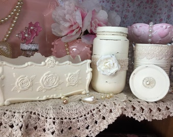 3 Pc Shabby Chic Ivory Vanity Tray Bathroom Dresser Set Glass Storage Jar Tin Can Vase Caddy Roses Lace Hand Painted Mother's Day Gift Idea