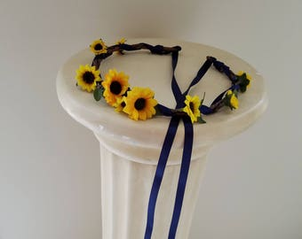 Flower girl Sunflower halo Gifts for Her navy blue country Wedding hair wreath accessories rustic Bridal party flower crown mini sunflowers