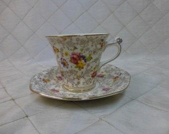 James Kent Ltd Fenton Teacup and Saucer Pearl Delight