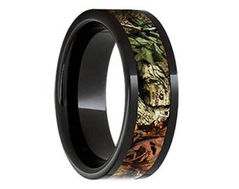 Black Diamond Ceramic Wedding Band 8mm Mossy Oak® Break-Up Infinit Inlay Hunter Camouflage Ceramic Pipe Cut Band with 5mm Camouflage Inlay