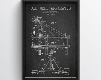 1905 Oil Well Apparatus Patent Wall Art Poster, Oil Drilling Poster, Oil Drilling Art Print, Texas Art, Home Decor, Gift Idea, PFEN22P