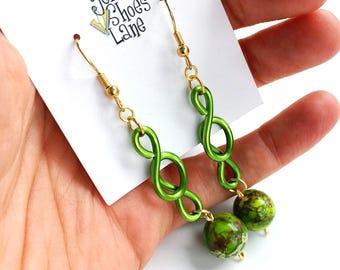 Vivid Green Veined Jasper Earrings Lime Green Jewelry