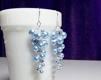 Blue Pearl Swarovski Earrings, Cascading Earrings, Long Blue Earrings, Bridesmaid Earrings, Wedding Jewelry, Christmas Gifts for Her, Sister