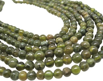 Grossular Garnet Beads, Green Garnet Beads, Smooth Round, January Birthstone, SKU 4509A