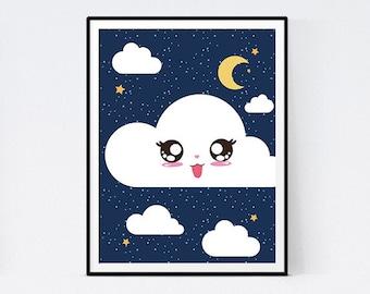 Displays cloud kawai blue night for child's bedroom - immediate download
