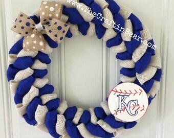 KC Royals burlap wreath - Kansas City Royals wreath - Kansas City Royals - Royals wreath - Royals decor - KC Royals decor - Royals burlap