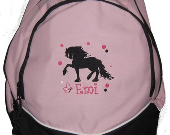 FREE SHIPPING - Friesian Draft Andalusian Horse Personalized Monogrammed Backpack Book Bag school tote  - NEW