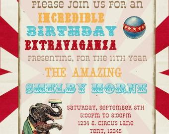 Circus PRINTABLE Birthday Invitation