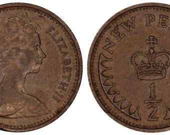 1971 Elizabeth II newpenny bronze coin of Great Britain