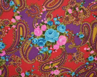 Vintage fabric psychedelic novelty bright paisley kalamkari and blue roses floral fabric barkcloth hippie pink aqua red purple