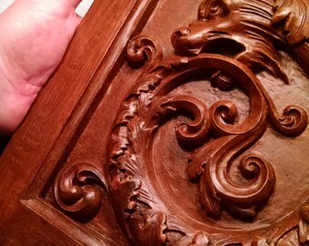 Griffin relief  Ouroboros in wood finish, classical architectural decor, carved griffin or dragon, Romantic Decor, Cast Shadows Studio