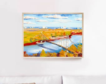 Autumn Oil painting, Landscape Oil Painting, Ukraine painting, Gift for Her, Framed Art, Kiev Art, Original Oil Painting On Canvas, River