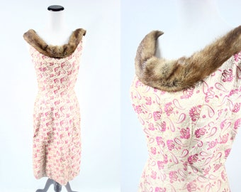 1960's 'Suzy Perette' Floral Brocade Fur Collar Sleeveless Sheath Dress