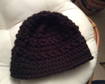 Hand crocheted warm brown beanie hat