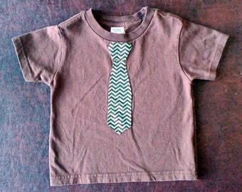 Brown and Turquoise Chevron Applique Tie Shirt
