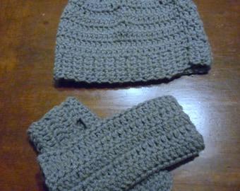 Messy Bun Hat & Fingerless Glove Matching Set. Choice of color Handmade Crochet Bun Beanie and Short Gloves.