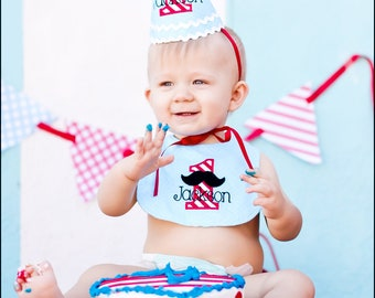 Boys First Birthday Mustache Hat and Bib - Cute hat in blue/light aqua, red and white stripes - Free personalization