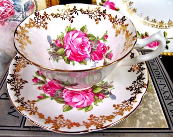 Collingwoods tea cup and saucer pink roses gold gilt teacup wide mouth