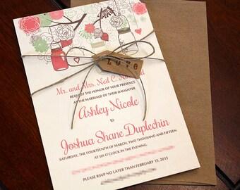 Mason Jar Wedding Invitation with Kraft Envelope - Rustic Wedding Invitation Love Tag Twine - Coral Reef Mint Green Wedding Invitation