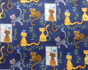 Cat Fabric, Kitties and Blue Birds, Cats on Blue, Woven Cotton Fabric, By the Half yard
