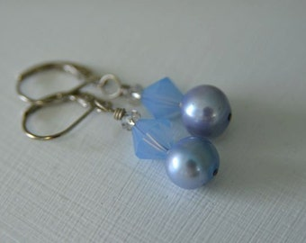 Periwinkle Pearl Earrings handmade from North Atlantic Art Studio in Maine