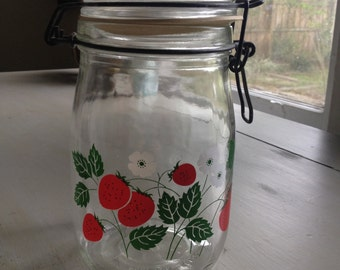 Vintage Ermetico Strawberry Glass Canister
