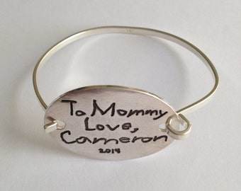 Mother's Day - Your Child's Actual Writing Silver Message Tension Bracelet - Made to Order