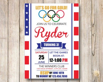 Olympics Party Birthday Invitation, Summer Olympic Birthday Party, Team USA, Winter Olympics Party, Gymnastics Printable Invite