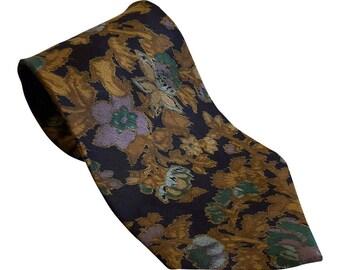 FUMAGALLI'S Vintage Silk Black Floral Print Tie