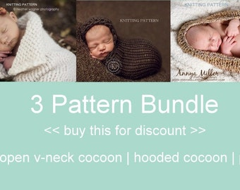 3 Pattern Bundle KNITTING PATTERNS - newborn cocoons, baby, instant download