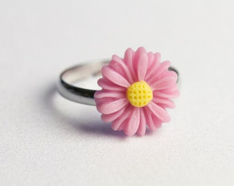 Light Pink Adjustable Daisy ring.