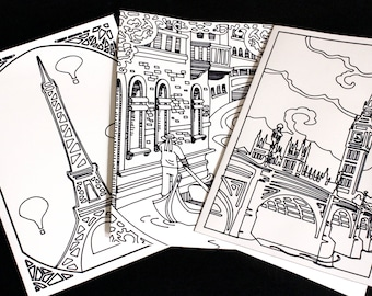 Travel Coloring Cards, Paris Coloring Card, London Coloring Card, Venice Coloring Card, Big Ben Card, Eiffel Tower Card, Birthday Cards