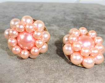 50's Pink Beaded Cluster Earrings Made in Japan