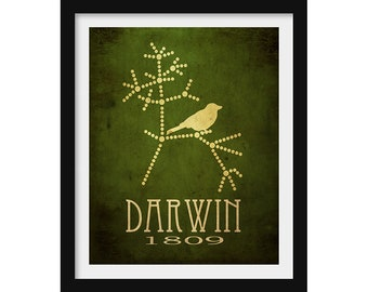 Darwin Poster, Biology Gift, Evolution Poster, Science Gift, Tree of Life, Science Poster, Galapagos Art, Darwin's Finches Steampunk Print