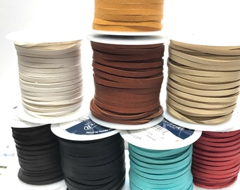 """50 Feet 1/8"""" Deer Skin Lace - Your choice of color  Free Shipping USA"""