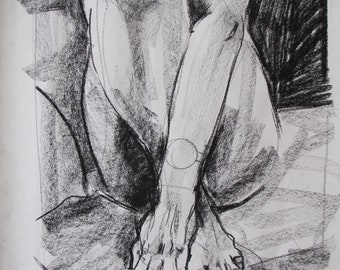 Charcoal life drawing of a woman's hands and feet