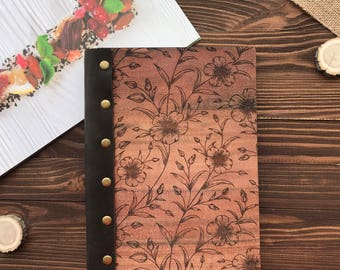 Gift for Her Wooden Notebook wooden diary Travel Journal Leather Sketchbook pocket notebook Notebook Leather Journal personalized diary