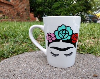 Colorful Frida Kahlo Ceramic Coffee Mug Cup,  Red, Mint, and Pink Flowers
