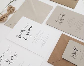 Iris || Wedding Day Invitation Suite, Minimal Wedding Stationery, Handmade Wedding Invitations, Modern Calligraphy Wedding Invite Suite