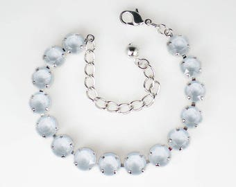 Pale Blue Rhinestone Bracelet Swarovski Crystal Powder Blue Wedding Jewelry Bridesmaid Jewelry