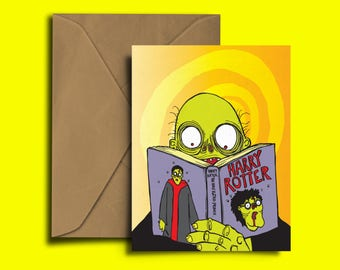 Harry Rotter - Harry Potter - Zombie - Wizard - Birthday Card - Congratulations - Valentines - Exam - A6 greeting Card - zombies - funny