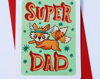 Super Dad Card - Superhero Father's day card for dad Fox Funny fathers day card Sweet Fathers day card grandpa card cute fathers day card