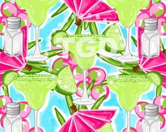 Preppy Margarita digital paper - Original Art download, pink green turquoise digital paper, preppy download, Margarita design