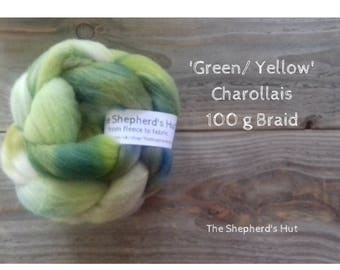 Charollais hand dyed braid in 'Green/ Yellow' 100 g  3.5 oz