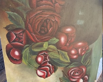 Antique Oil on Board Roses