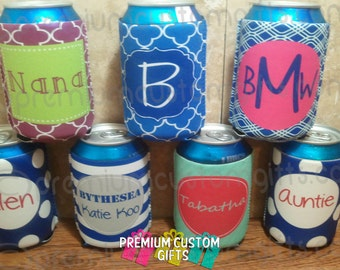7 Personalized Can Coolers - Monogram Can Coolers - Can Can Coolers - Personalized Can Coolers - Birthday - Bachelorette Koolie Design #K127